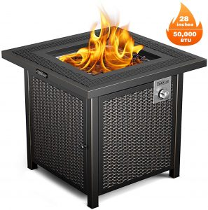 Best gas fire pit: Tacklife Propane Fire Pit Table.
