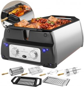 ChefWave Smokeless Stainless Steel Indoor Electric Grill & Rotisserie.