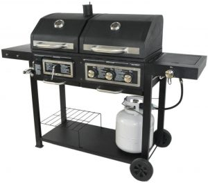 BLOSSOMZ Dual Fuel Combination Charcoal/Gas Grill.