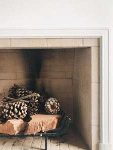 Pines in fireplace.
