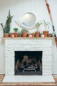 White brick fireplace.